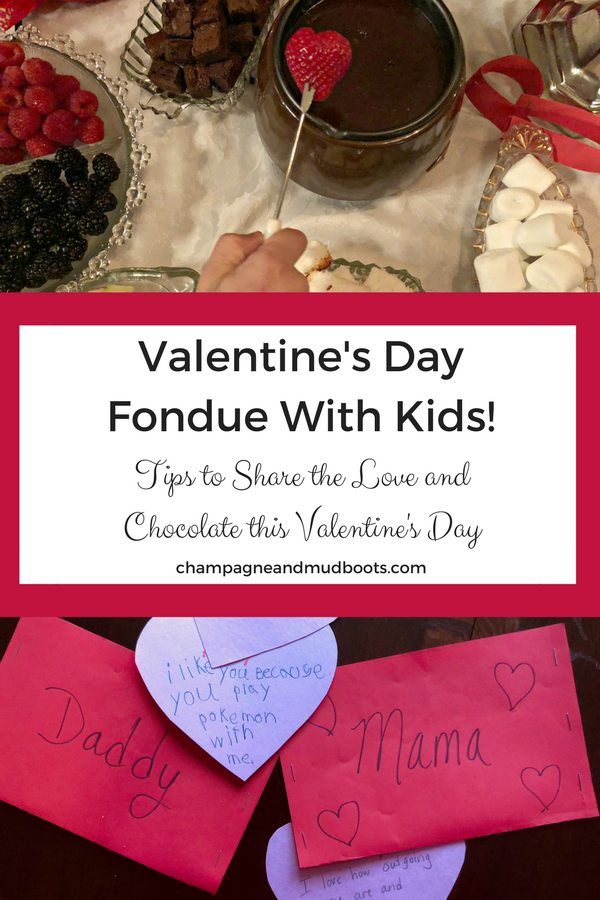Make family memories with a Valentine's Day Fondue With Kids including tips to make it less stressful and ideas for Valentine's Day crafts for kids.