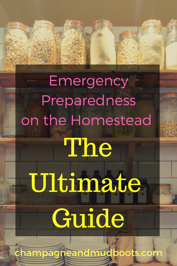Emergency preparedness ideas for the homestead including stockpiling food, water, surviving natural disasters, job loss, prepping for medical emergencies, and hacks for protecting your animals.